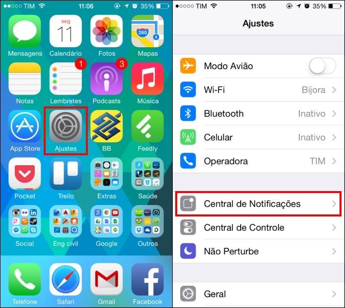 Acesse as configurações do iOS 7 (Foto: Reprodução/Helito Bijora)