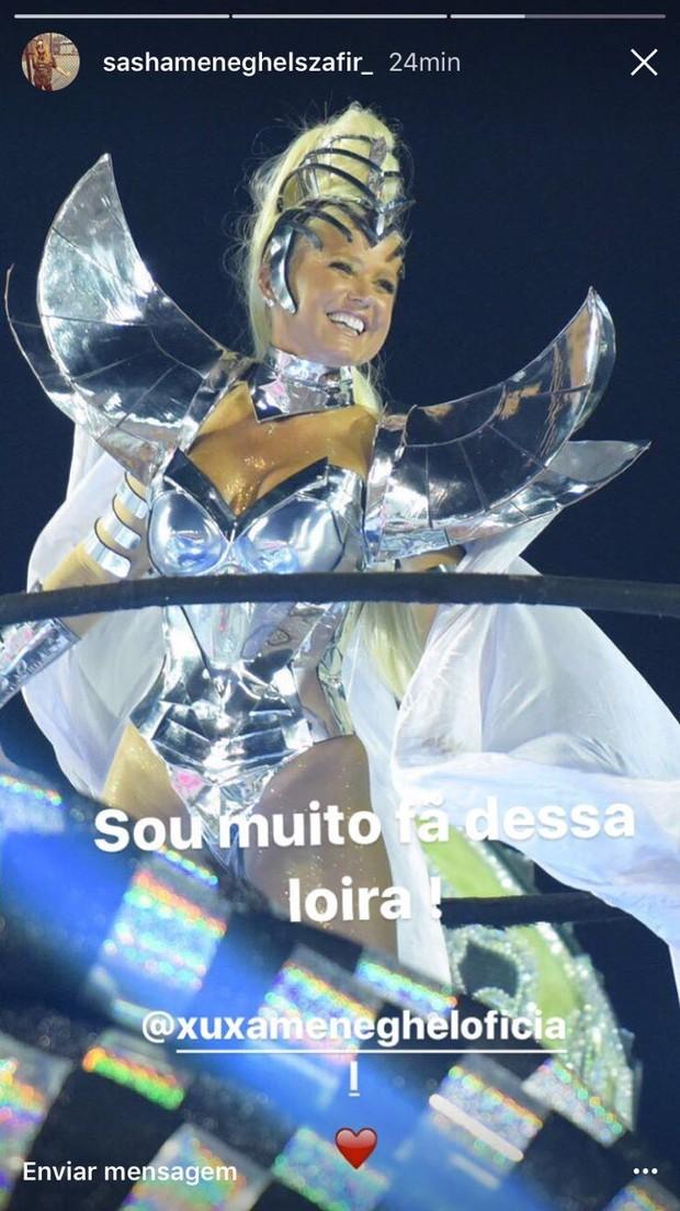 Sasha elogia Xuxa na Sapucaí (Foto: Reprodução do Instagram)