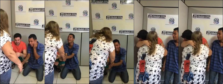 Mulher abraçou criminosos que mataram o filho, no Espírito Santo (Foto: Geisy Gomes/ A Gazeta)