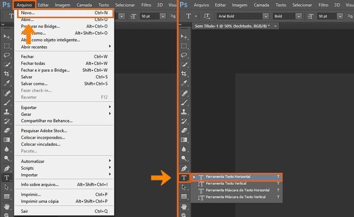 Abra um novo documento no Photoshop e digite o texto que deseja transformar em 3D (Foto: Reprodução/Barbara Mannara) (Foto: Abra um novo documento no Photoshop e digite o texto que deseja transformar em 3D (Foto: Reprodução/Barbara Mannara))
