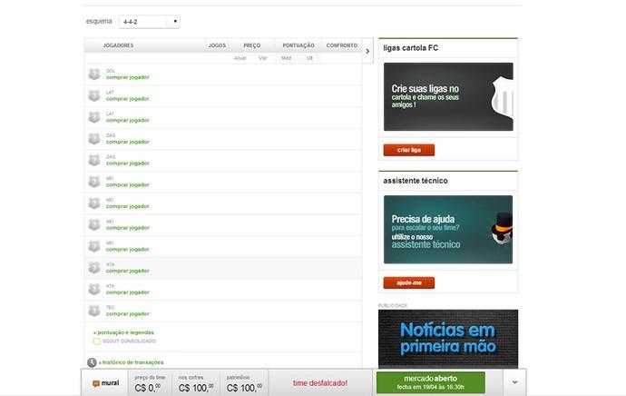 Guia Cartola tela Plantel compra de jogador (Foto: Reprodução)