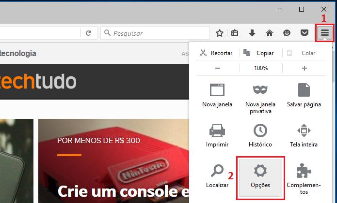 Acessando as Opções do Firefox (Foto: Reprodução/Edivaldo Brito)