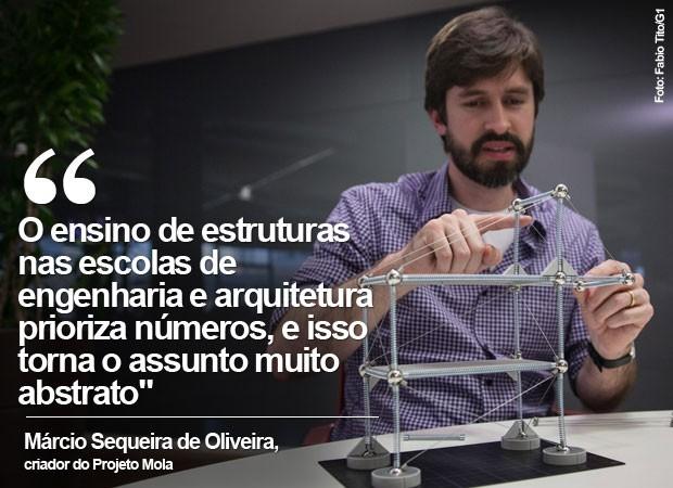 Márcio Sequeira de Oliveira criou modelo de ensino de arquitetura e arrecadou R$ 600 mil para a linha de produção (Foto: Fabio Tito/G1)