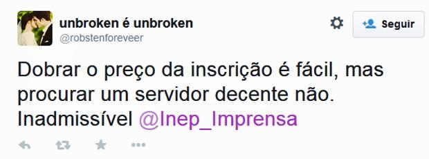 Estudantes criticam site do Inep no Twitter (Foto: Reprodução/Twitter/Umbroken é Unbroken)