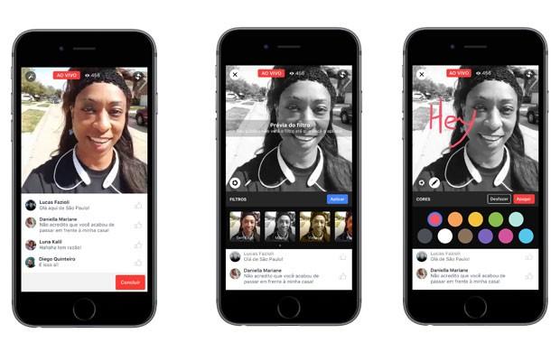 Facebook Live permite inclusão de filtros, que alteram cor da imagem exibida na tela.  (Foto: Divulgação/Facebook)