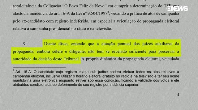 TSE pode suspender novas propagandas do PT se houver apoio a Lula
