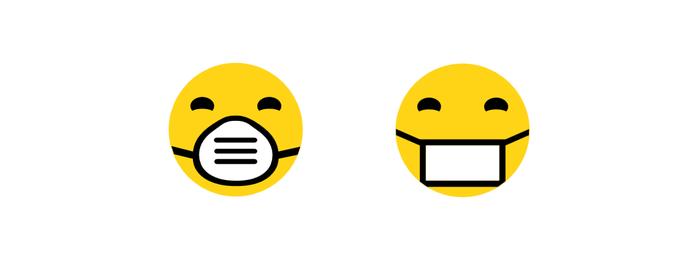 Mudança no emoji com máscara de médico (Foto: Reprodução/Emojipedia)