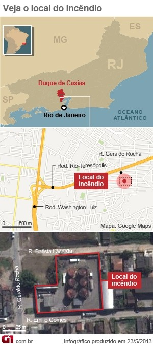 Mapa incêndio Duque de Caxias (Foto: Editoria de Arte/G1)