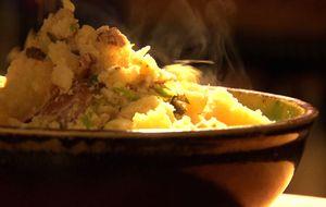 Batatas amassadas com queijo