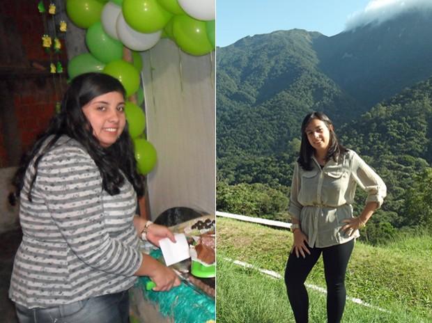 Com reeducação alimentar e exercício físico, ela conseguiu perder mais de 35 kg; fotos mostram antes e depois (Foto: Arquivo pessoal/Andresa Gravino Corrêa)