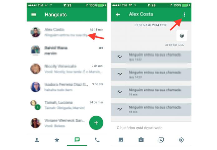 Acessando as configurações de um chat do Google Hangouts para iPhone (Foto: Reprodução/Marvin Costa)