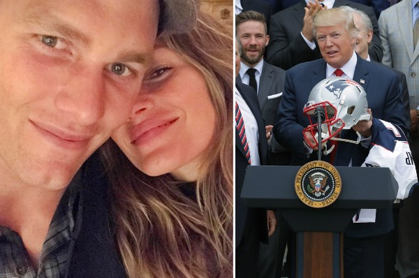 Gisele Bündchen com Tom Brady e o Donald Trump com a camisa e o capacete do time do jogador (Foto: Instagram/Getty Images)