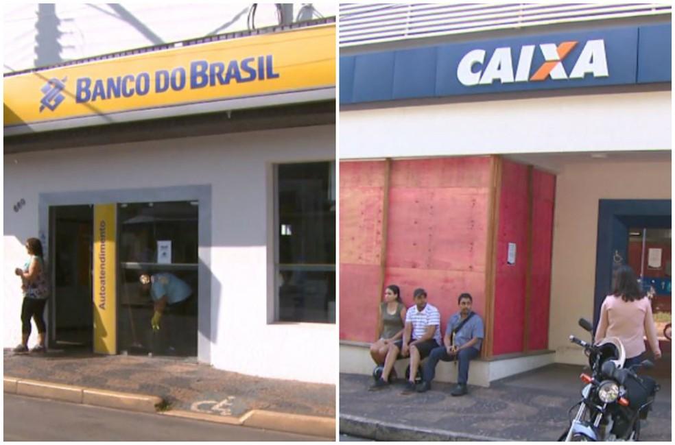 Agências do Banco do Brasil e da Caixa não funcionam normalmente após assalto (Foto: Eder Ribeiro/ EPTV)
