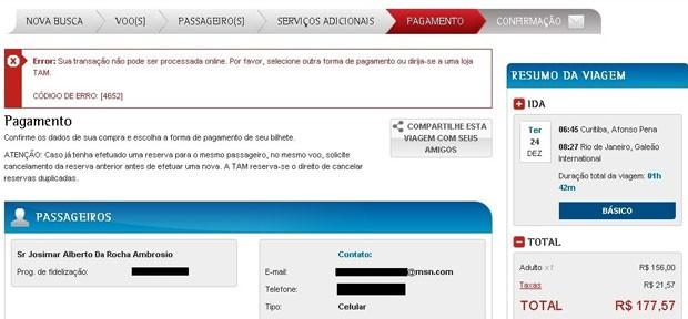Mensagem de erro que aparece na tentativa de compra com cartão de crédito no site da TAM (Foto: Reprodução/Josimar Ambrosio)
