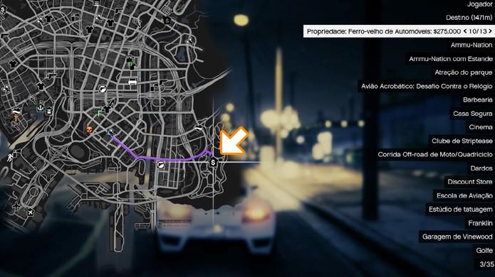 Siga até este ponto no mapa de GTA 5 para encontrar o ferro-velho (Foto: Reprodução/Rafael Monteiro)