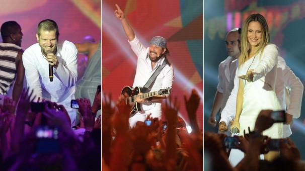 Saulo, Bell Marques e Cláudia Leitte levantam a galera com pop e música baiana no Show da Virada (Foto: Zé Paulo Cardeal/Globo)