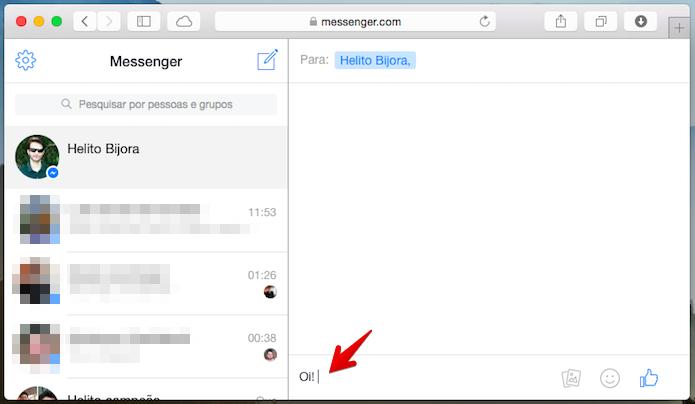 Clique sobre o campo de texto que deseja inserir o emoji (Foto: Reprodução/Helito Bijora)