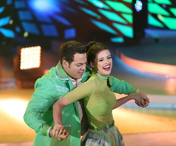 Agatha Moreira se divertiu no palco do 'Domingão' (Foto: Carol Caminha/ Gshow)