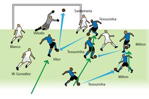 Tímido, Vitor vira 'foguete' e faz o primeiro gol do estádio Olímpico (arte esporte)