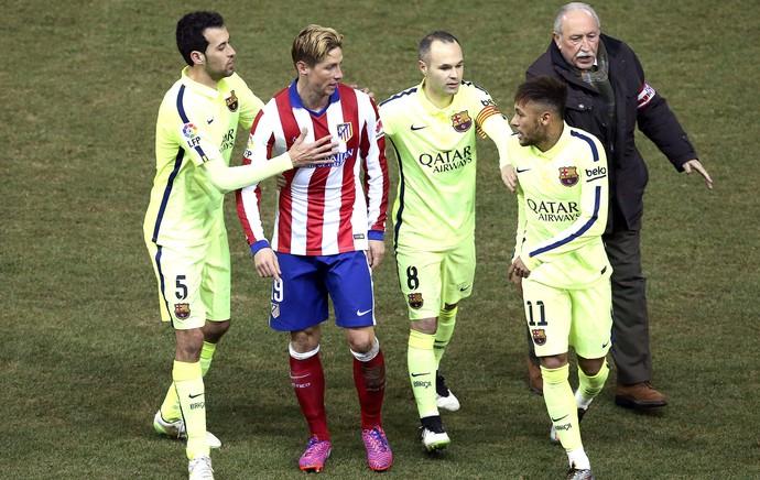 Fernando Torres e Neymar, Atlético de Madrid X Barcelona (Foto: Agência EFE)