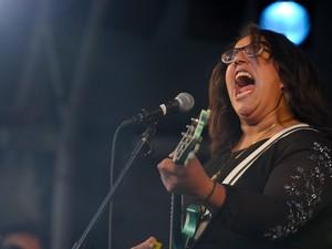 Brittany Howard, vocalista da banda Alabama Shakes, que se apresentou no palco Alternativo (Foto: Flavio Moraes/G1)