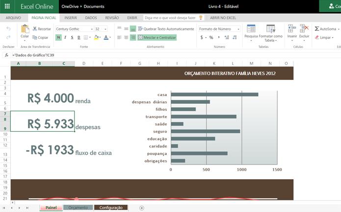 Template conta com gráficos que demonstram quais são as maiores despesas (Foto: Reprodução/Filipe Garrett)