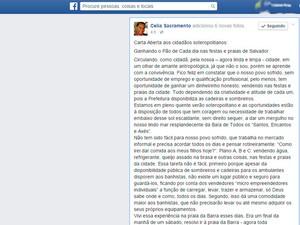 Vice-prefeita Célia Sacramento paga por kit municipal em praia de Salvador (Foto: Reprodução/Facebook)