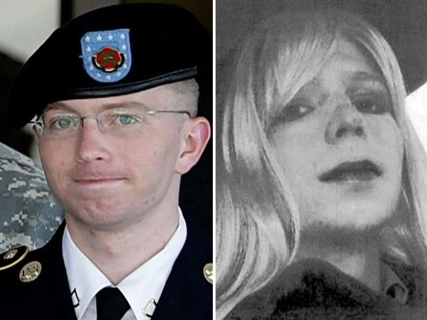Bradley Manning como soldado e, ao lado, vestido de mulher.  (Foto:  Reprodução/Globo News/AP)