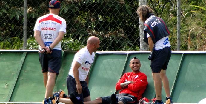 Sampaoli Arturo Vidal Chile treino (Foto: Tarcísio Badaró)