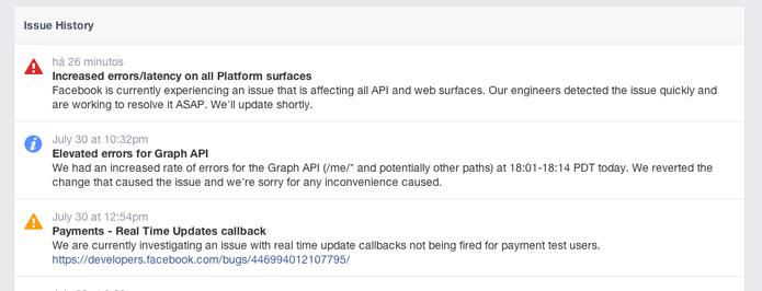 Site do Facebook para os desenvolvedores informa que houve uma queda geral (Foto: Reprodução/Facebook)