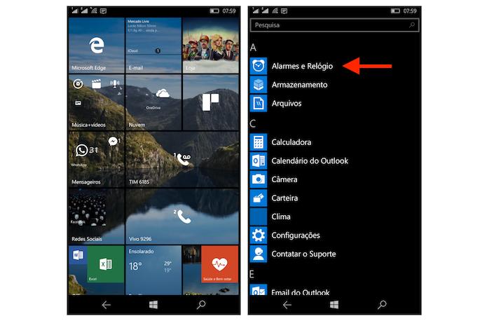 Acessando as opções para alarmes e relógios do Windows 10 Mobile (Foto: Reprodução/Marvin Costa)