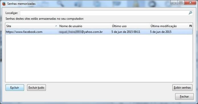 Janela para excluir senhas salvas no Firefox (Foto: Reprodução/Raquel Freire)