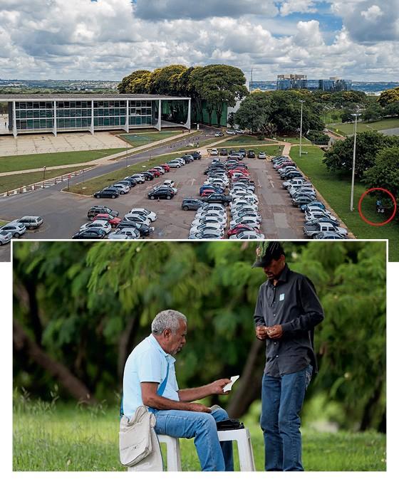 ATENDIMENTO Seu Brasil  ao lado do STF. Ele registra apostas e emite recibo na máquina portátil (Foto: Diego Campos, Sérgio Dutti/ÉPOCA)