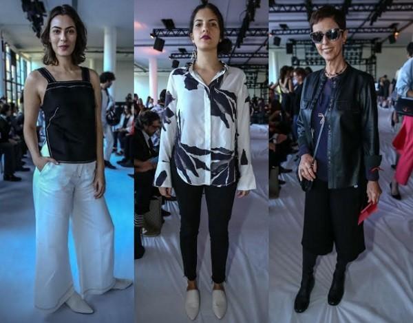 Isabel Wilker, a cantora Céu e Lilian Pacce também apostaram nas cores preta e branca em seus looks  (Foto: Ag News)