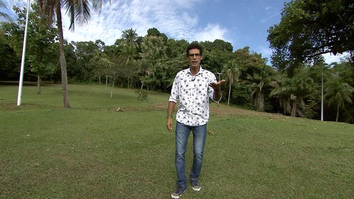 Jackson Costa apresenta o programa direto do Parque da Cidade, em Salvador (Foto: TV Bahia)