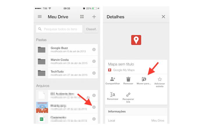 Abrindo as opções para um arquivo do Google Drive para iPhone (Foto: Reprodução/Marvin Costa)
