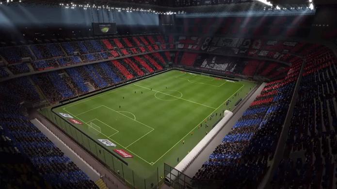 Estádio de Milão dividido: Milan e Inter (Foto: Reprodução/Thiago Barros)