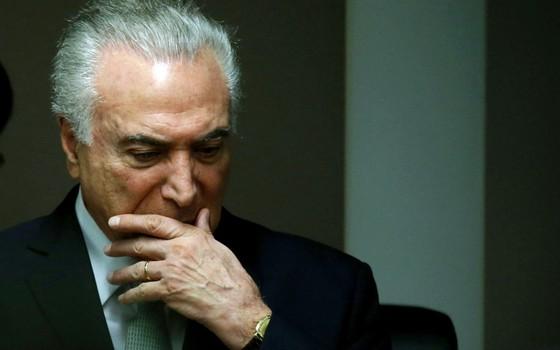 O presidente Temer em seu pio momento.Ele e Aécio são acusados de obstrução de justiça (Foto: Adriano Machado/REUTERS)