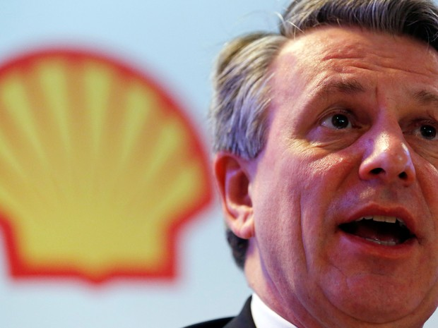 Ben van Beurden, CEO da Shell, fala durante coletiva de impresa no Rio, nesta segunda-feira (15). (Foto: REUTERS/Sergio Moraes)