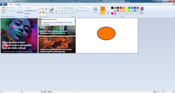Use o conta gotas para ter a cor exata que deseja (Foto: Reprodução/Camila Peres)