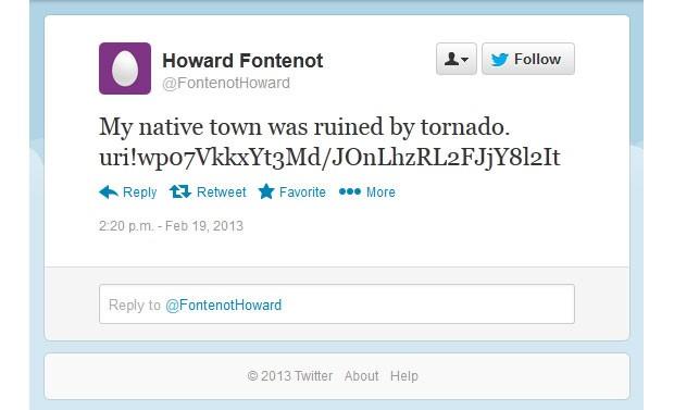 Exemplo de postagem no Twitter que pode ser lido pela praga para executar comandos nos sistemas infectados (Foto: Reprodução)
