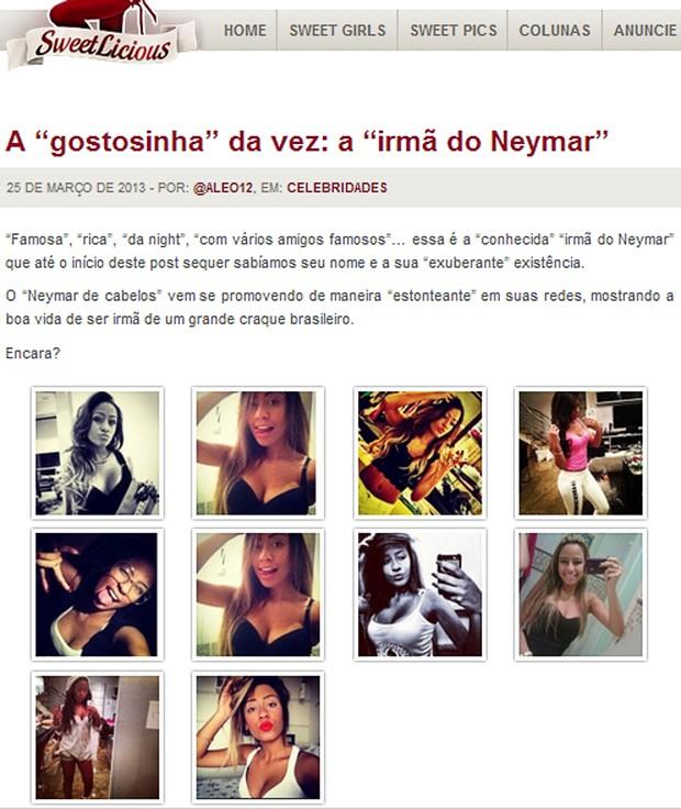 Fotos da irmã de Neymar param em site de conteúdo adulto (Foto: Reprodução / sweetlicious.net)