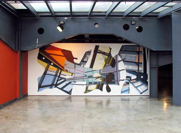 Francis Rodrigues; acrílica sobre tela e colagem - Memorial de Curitiba (Foto: Divulgação)