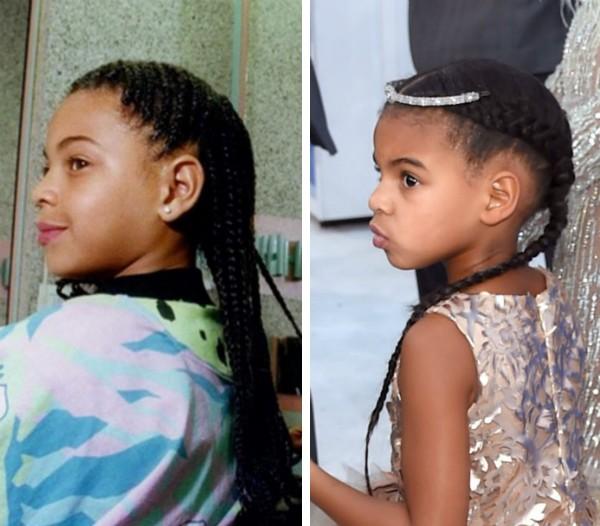 A cantora Beyoncé durante a infância e sua filha Blue Ivy (Foto: Instagram/Getty Images)