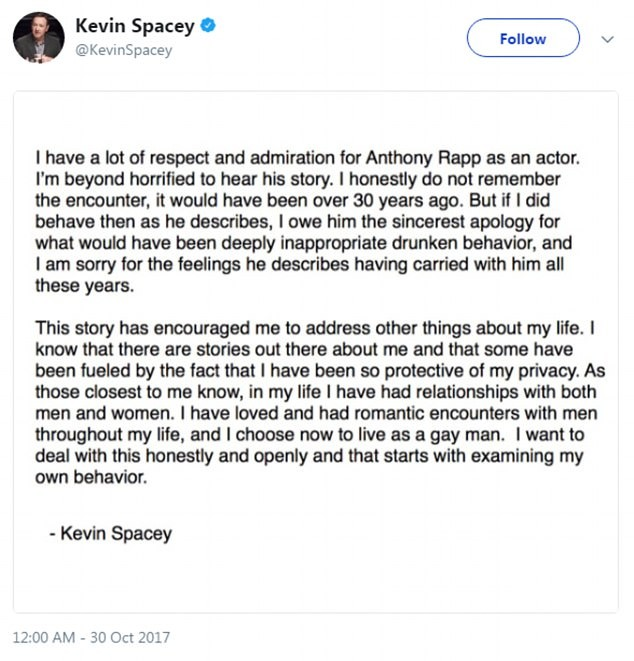Declaração de Kevin Spacey (Foto: Twitter)