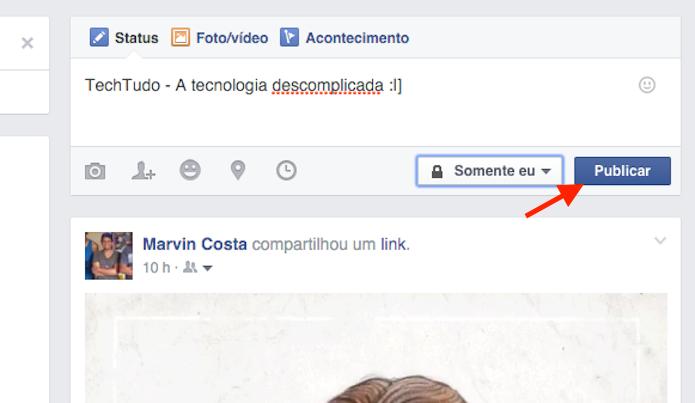 Publicando uma atualização de status com um emoticon secreto do Facebook (Foto: Reprodução/Marvin Costa)