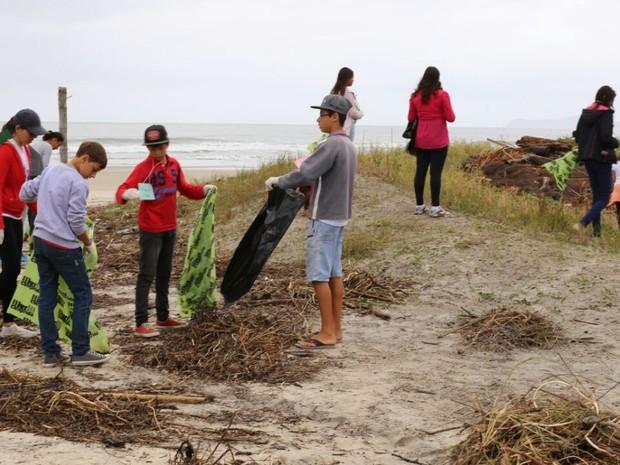 Voluntários recolhem lixo no Boqueirão Sul em Ilha Comprida (Foto: Camila Pires/Divulgação IPeC)