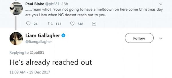 A mensagem na qual Liam Gallagher revela ter sido procurado pelo irão, Noel Gallagher (Foto: Twitter)