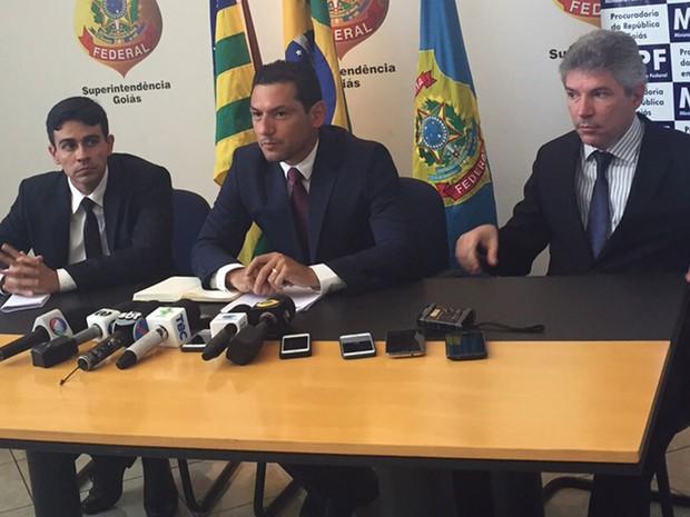 PF e MPF falam da operação O Recebedor e detalham fraudes em obras de ferrovias, em Goiânia, Goiás (Foto: Murillo Velasco/G1)