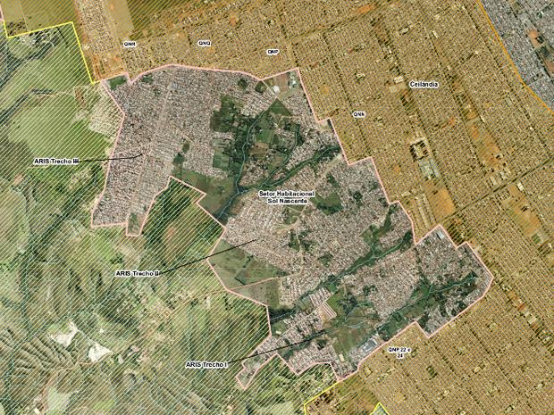 Mapa do Setor Habitacional Sol Nascente dividido em três trechos (Foto: Agefis/Reprodução)